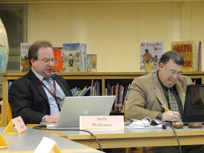 Tupper Lake Central School District Superintendent Seth McGowan addresses the board during its Feb. 6 meeting.