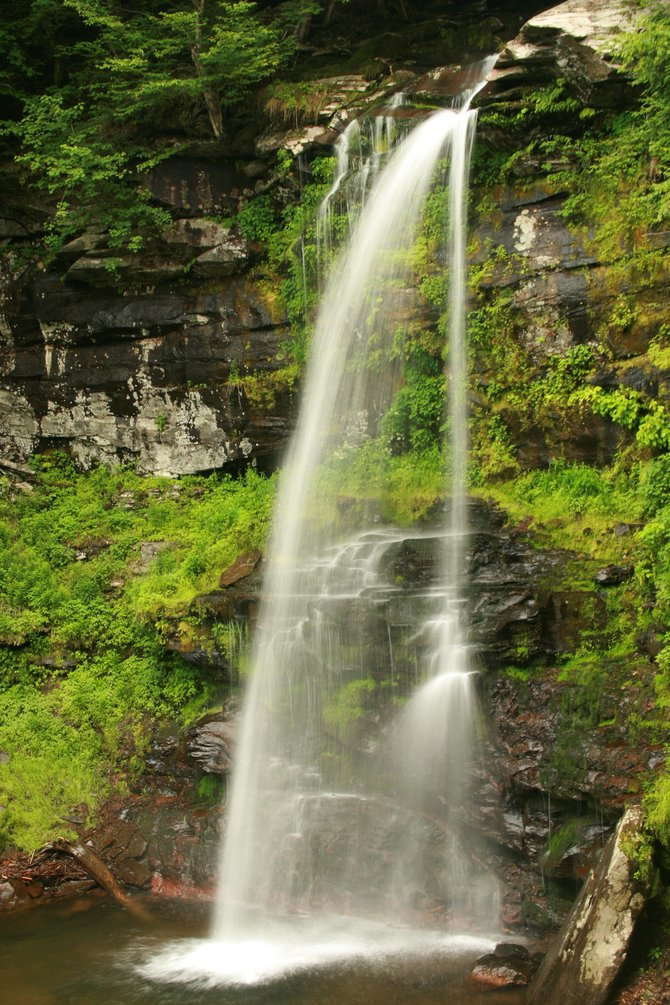 Water cascades over Plattekill Falls near the start of hikes to the Overlook and Plattekill Mountains.