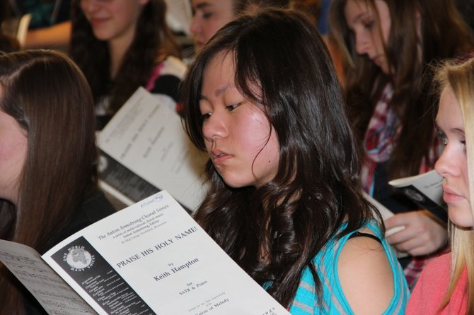 Anita Zhang of Ticonderoga rehearses during the All County Music Festival. The event was hosted by Ti High School and attracted more than 200 of the North Country's top student performers.