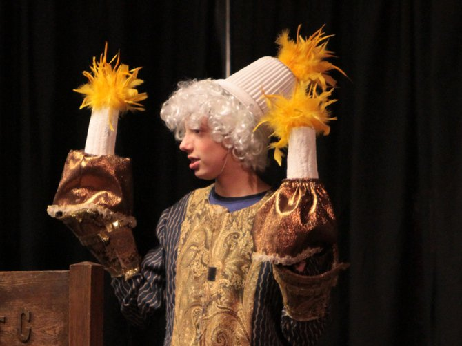"Timothy Ryan portrayed Lumiere in the Ticonderoga Middle School production of ""Beauty and the Beast."""