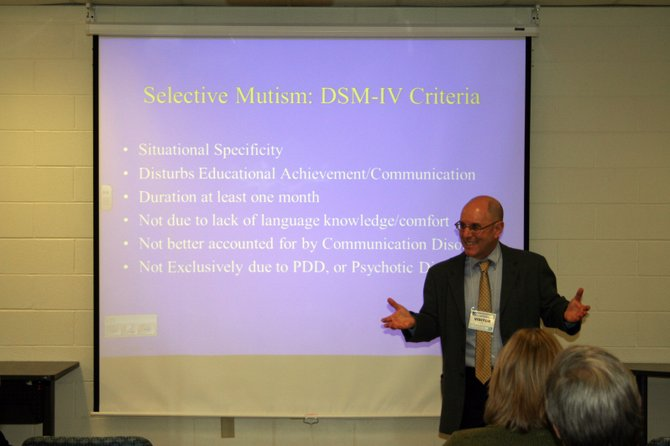 Dr. Alan J. Barnett, a psychologist from Clifton Park, presenteda workshop on selective mutism on February 7 for the Saratoga Springs CitySchool district.