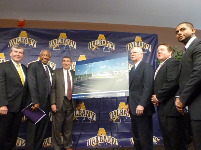 University at Albany officials and local politicians announce the groundbreaking of a new campus sports complex.