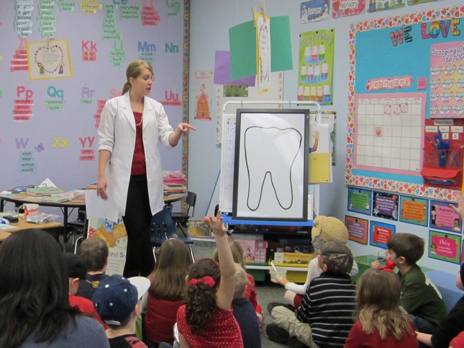 Dr. Burlingame visits many area schools and presents information about dental health.