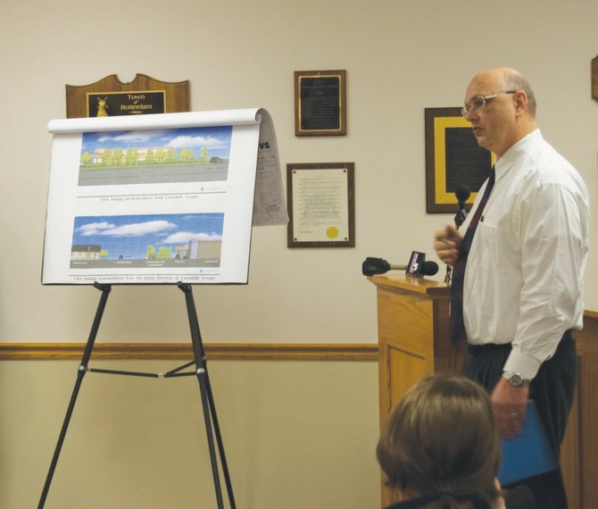 Engineer John Furman, of Vanasse Hangen Brustlin, Inc., talks about proposed landscaping for a new CVS Pharmacy at the corner of Lawndale Avenue and Curry Road during the Rotterdam Planning Commission meeting on Tuesday, Feb. 21.