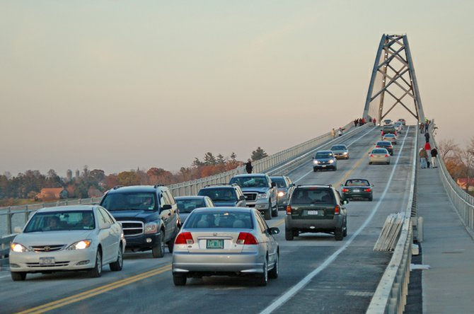 Motorists travel between Crown Point, N.Y. and Addison, Vt. on the Lake Champlain Bridge around 4 p.m. Monday, Nov. 7 shortly after the new span opened