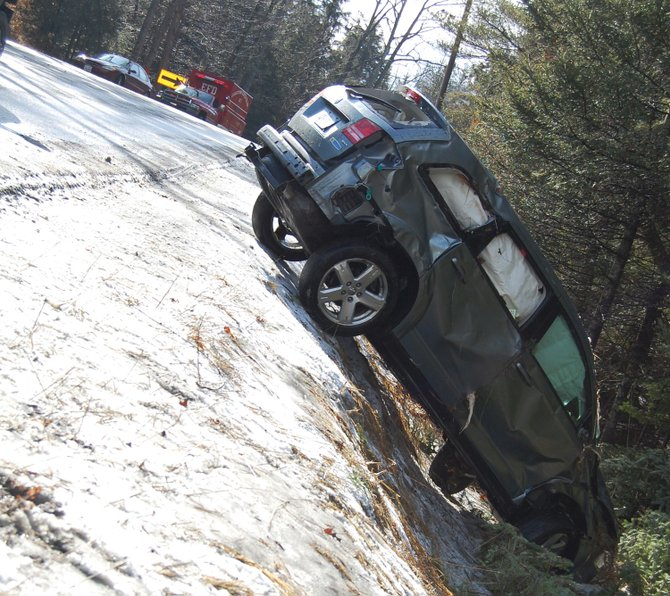 Slick road conditions were part of a morning accident in Elizabethtown on Lincoln Pond Road Feb. 23.