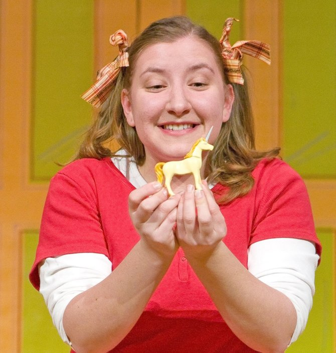 "Emily Arrow relies on her toy unicorn to bring her good luck in the musical ""Fish Face,"" which will be performed at the Kidz Expo at Empire State Plaza."