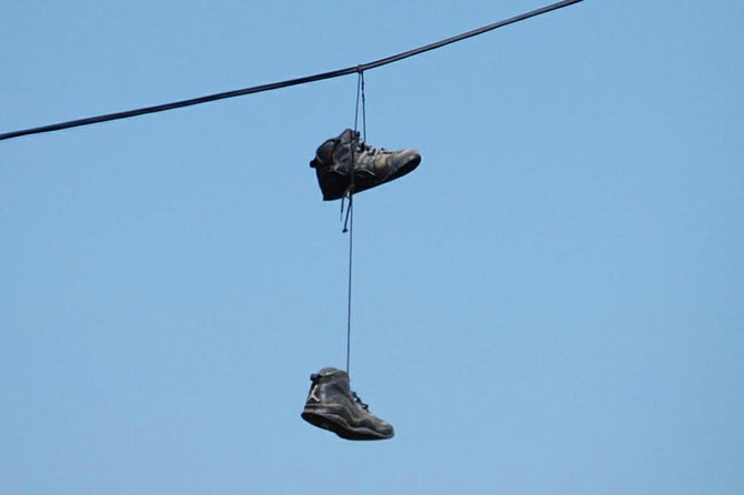 Are criminals marking their turf in Ticonderoga? That's the concern of one local resident, who has noted  pairs of shoes that have been thrown over utility wires in the community.
