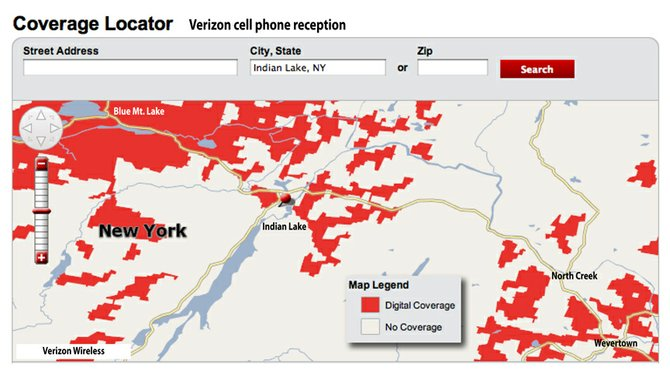 Verizon cell phone coverage in Indian Lake as of February 2012