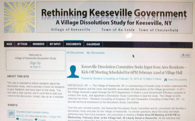 The home page of the Keeseville dissolution study committees website, keeseville.ning.com.