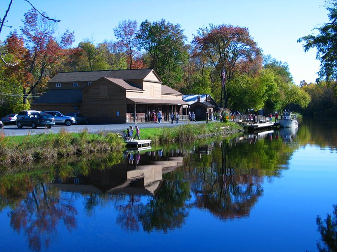 Sims' Store Museum sits right in front of the picturesque Erie Canal Park in Camillus.