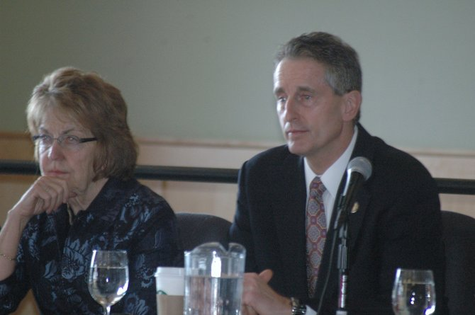 State Senator Betty Little and Lt. Gov. Robert Duffy listen to testimony during the Mandate Relief Committee public hearing at the Lake Placid Convention Center March 2.