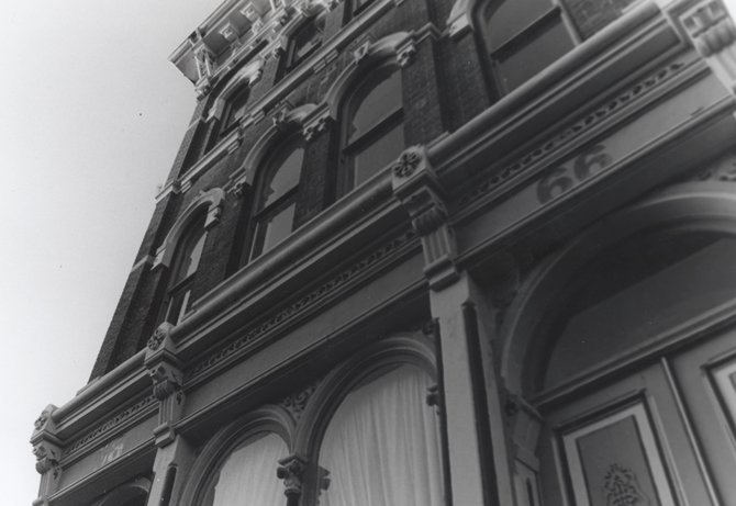 A photo of a Ballston Spa façade, and part of a photo exhibition on display at the Brookside Museum. The work of Ballston Spa High School students makes up the photography exhibit, which resembles the work done a decade ago in a similar showing. (Photo by Junior, Linda Danison)