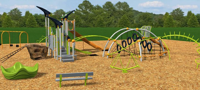 A computer-generated image of one part of the proposed new playground equipment. The playground is designed for children ages 2-12, with an adult fitness section also intended.
