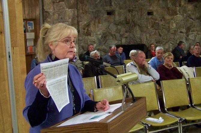 Lobbying at a Lake George Town Board meeting March 12 for a local ban on herbal incense, Joanne Gavin holds up news articles that describe  criminal and psychotic behavior as well as serious health consequences associated with use of such substances.