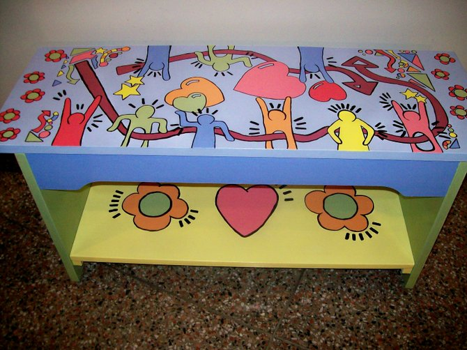 Benches have been decorated by local artists and will be auctioned off to benefit the Voorheesville Dollars for Scholar program.