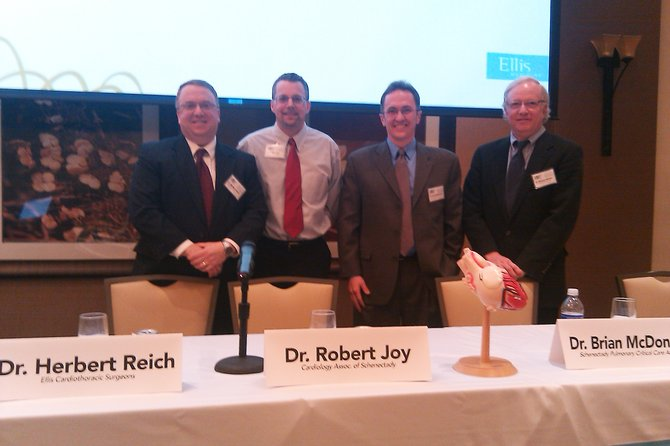 "From left, Dr. Hebert Reich, Ellis Cardiothoracic Surgeon; Dr. Robert Joy, Cardiology Associates of Schenectady and an electrophysiologist at Ellis Medicine; Dr. Brian McDonald, of Schenectady Pulmonary Critical Care Associates; and Dr. Robert Parkes, of Cardiology Associates of Schenectady, pose at ""A Meeting of the Minds"" on Thursday, March 8. Each physician presented on a different area of advancement in cardiac care during the event."