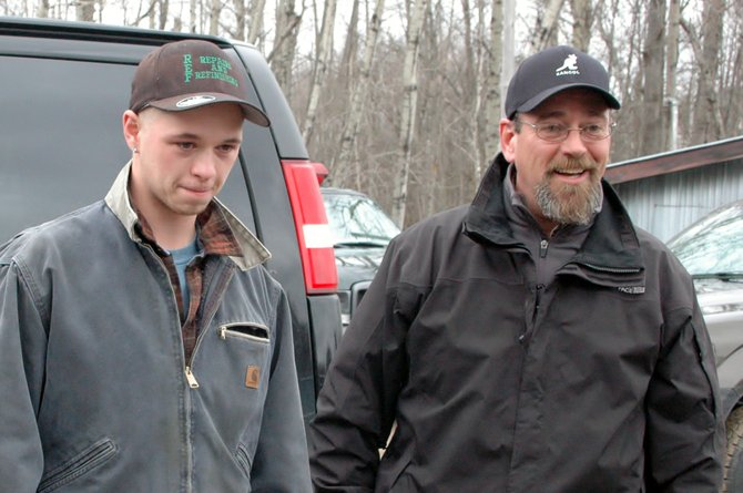 Lyndon and John Gillis speak to the media March 14. Police and Forest Rangers continued their search for 18-year old Colin Gillis March 15.