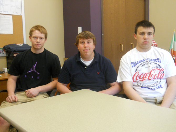 The Ti High Student Voice, the student government, formed a budget committee to provide student comment on the district budget process. Committee members include, from left, Jordan Woods, Karney manning and Cody Henthorn.