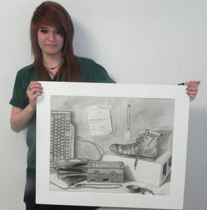 Veronica Huber of New Haven and her submission to the New Hampshire Art Institute drawing contest.