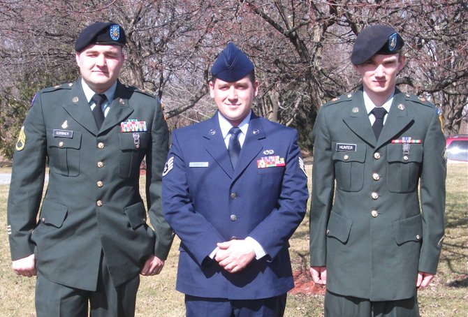 SSgt. Durane Scribner (Vermont Army National Guard), of Bristol, SSgt, Travis Scribner (Vermont Air National Guard), of Vergennes, and Spc. Matthew Hunter (Vermont Army National Guard), of Bristol, attended the funeral last week of their grandfather, U.S. Army Vietnam veteran CW2 Lewis E. Scribner, Jr.