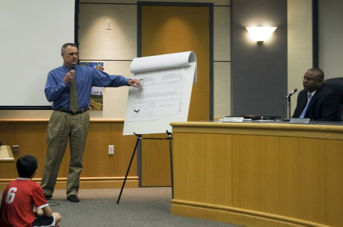 A Plank Construction representative presented preliminary construction plans for a proposed indoors recreation facility at Blatnick Park during a presentation on the project on Thursday, March 15.