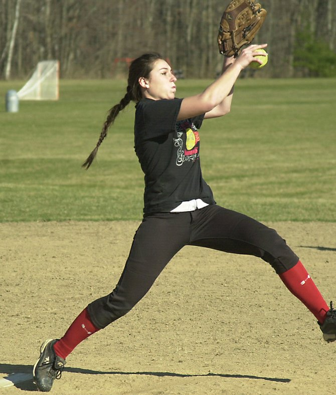 Bethlehem's Meagan Sullivan throws during a preseason practice last Wednesday. Sullivan is one of six returning starters from last year's Class AA championship team.