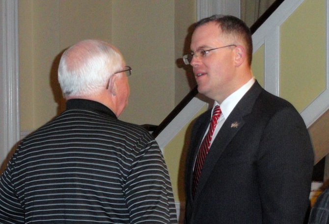 Warren County Chairman Dan Stec speaks with people during the Essex County Republican Committee meeting March 21 in Elizabethtown.