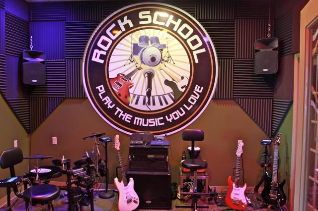 Equipment is ready for entertaining the masses at Modern Day Music's Rock School Music Academy in Clifton Park.
