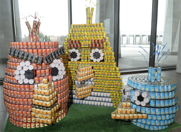 Angry Birds were created out of cans at last year's Canstruction event.