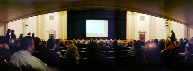 More than 100 students, parents, educators and tax-payers attended the April 2 meeting of the Cazenovia Central School District Board of Education in the high school auditorium. The board will vote on the official budget April 16.