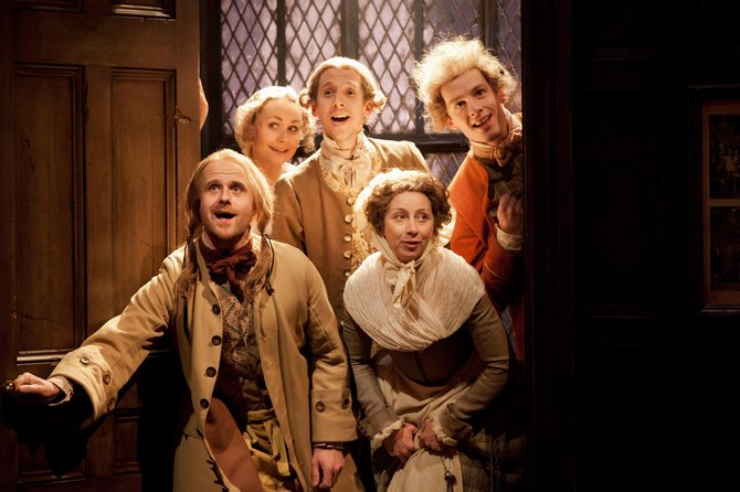 "The National Theater hit comedy ""She Stoops to Conquer"" will be broadcast at Middlebury's Town Hall Theater on Thursday, April 5, at 7 p.m."