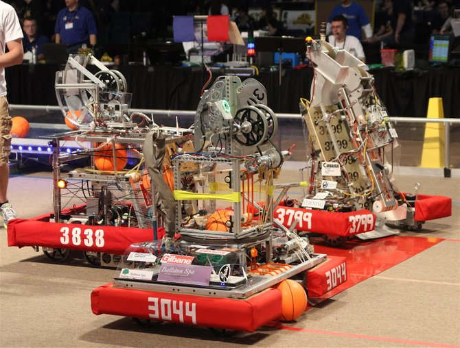 "The Ballston Spa High School FIRST Robotics team's robot ""Oxsanity"" placed second at the Finger Lakes FIRST Robotics Regional Competition last month. Students spent about six weeks building the robot. Photo Submitted."