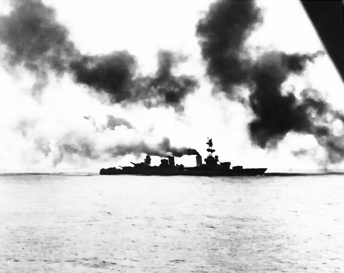 The World War II heavy cruiser Salt Lake City during the Battle of of the Komandorski Islands on March 27, 1943.