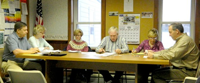 The Skaneateles Village Board of Trustees at its April 2 reorganizational meeting. From left, newly-sworn in member Jim Lanning, Mary Sennett, Sue Jones, Marty Hubbard, Patty Couch and Marc Angelillo.