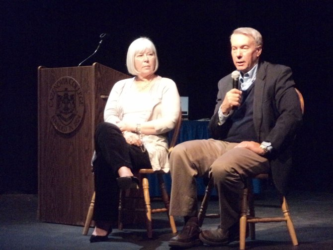 "David Kaczynski, right, sits beside Janice Greishaber Geddes at the March 30 Cazenovia Forum lecture. Kaczynski spoke of his experiences with his brother Ted, the ""Unabomber,"" and Geddes discussed her efforts that helped lead to the 1998 Parole Reform Act. ""Jenna's Law"" was named after her daughter."