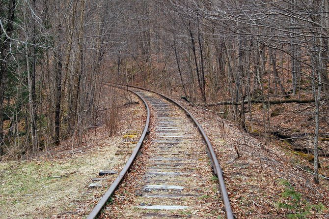 Shown here is a section of the Tahawus railroad line off the North Woods Club Road in the town of Minerva. The line, which stretches from North Creek to the Tahawus mine in the town of Newcomb, was once owned by NL Industries and is now owned by the Saratoga-North Creek Railway, which wants to operate freight on the tracks.