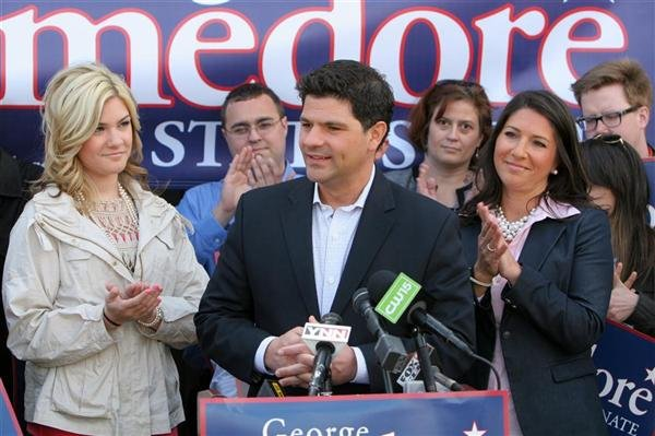 Assemblyman George Amedore, R-Rotterdam, announced his bid for the state Senate with a daylong tour of the new 46th district. Hes pictured here with supporters in Guilderland, just one of the new areas hell be faced with campaigning in.