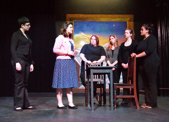 """Members of the cast of Cazenovia College's spring production, """"Our Town"""" by Thornton Wilder, rehearse on stage. Multiple performances will be held on April 20, 21 and 22 in Catherine Cummings Theater."""