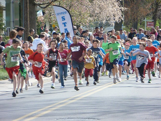 The start of the 1-mile children's race at the 24th annual Delmar Dash on Sunday, April 15.