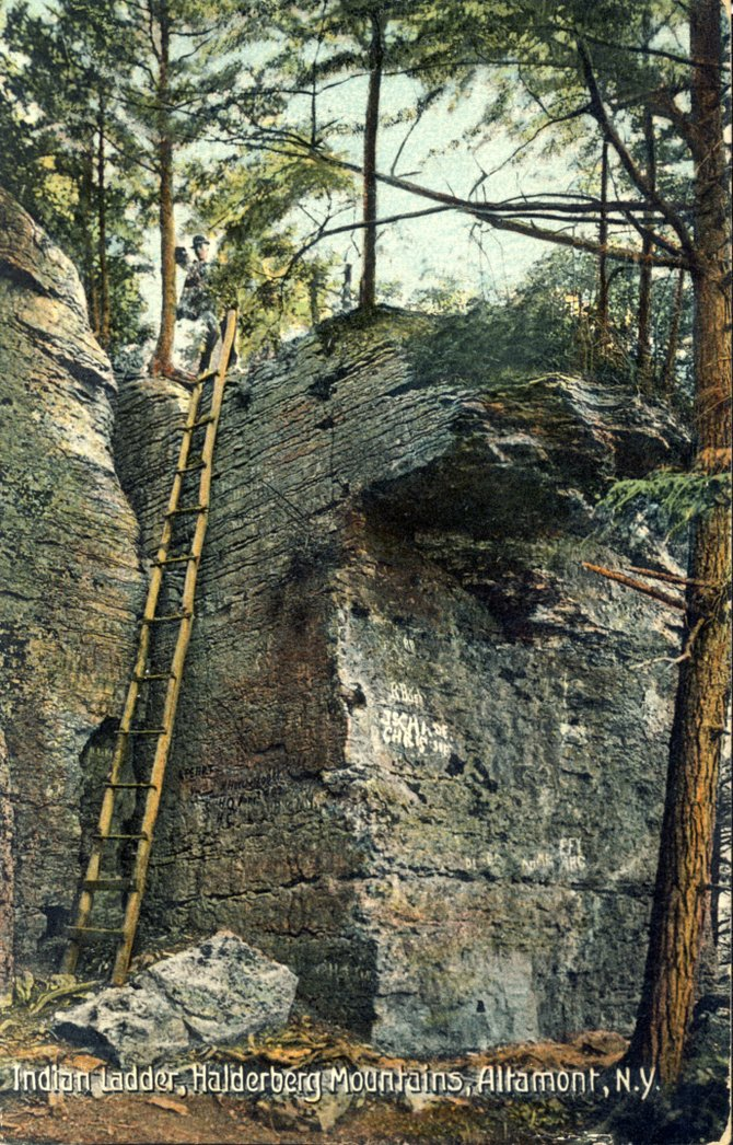 Native Americans used a ladder to traverse the cliffs of the Helderberg Escarpment. It was later rebuilt as a tourist attraction, as seen is this postcard.