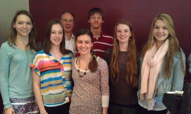 From left to right: Elaine Mertens (outbound student to Mexico), Liza Janke (outbound to Denmark),  Richard Robb (Dewitt Rotary Youth Exchange Officer), Csilla Baksai (inbound student from Hungry), Sam Rigney (outbound to Thailand), Lynn Watts (outbound to Argentina) and Ellie Sukoenig (outbound to Germany).