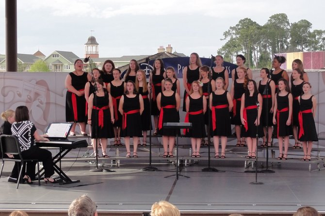 The Moriah Central School womens choir performed at Disney World in Orlando, Fla., as part of the Disney Performing Arts Program March 21 to 26. It includes Blake Bigelow, Sarah Burabank, Courtney Clark, Grace Cochran, Alice Cochran, Morgan Conley, Samantha Cota, Lauren Cross, Brooke Dever, Carolyn Evens, Desiree Fleming, Taylor Gregory, Alexandra Lashway, Celena Madill, Rebecca Maloy, Felicia Martinez, Antonia Perkins, Shonna Provoncha, Brandy Robichaud, Randie Safford, Ashley Shores, Emily Simard, Carolyn Simard, Sarah Slattery and Maddie Stahl.
