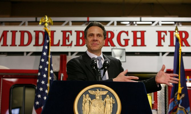 Gov. Andrew Cuomo announces on Wednesday, April 11, at the Middleburgh Fire Department, the state will nearly cover the $60.9 million local share for FEMA eligible project costs.