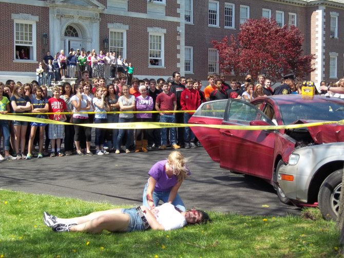 Students at The Albany Academies saw an anti-DWI demonstration on Friday, April 20.