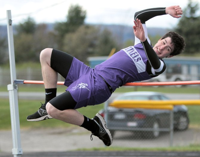 Ticonderoga's Matt Cook tied for first place in the high jump during Champlain Valley Athletic Conference track and field action against Lake Placid April 24.