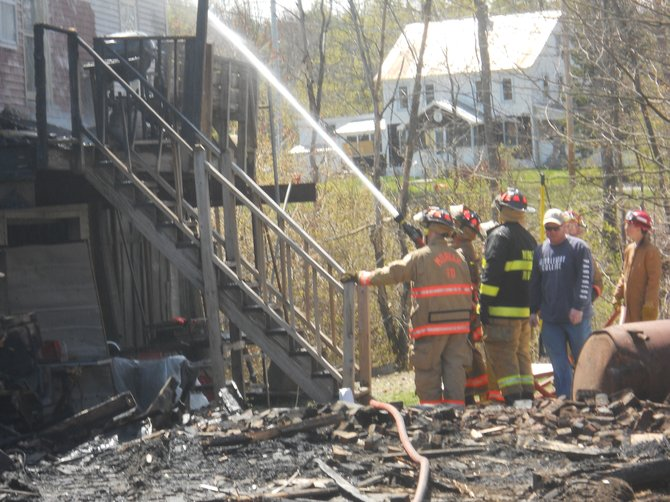 A century-old Moriah Center building was destroyed by fire April 28. More than 60 firefighters responded and battled the fire. Moriah, Port Henry and Mineville-Witherbee fire departments were at the fire, along with Westport Air One. Moriah Ambulance Squad was also at the scene.