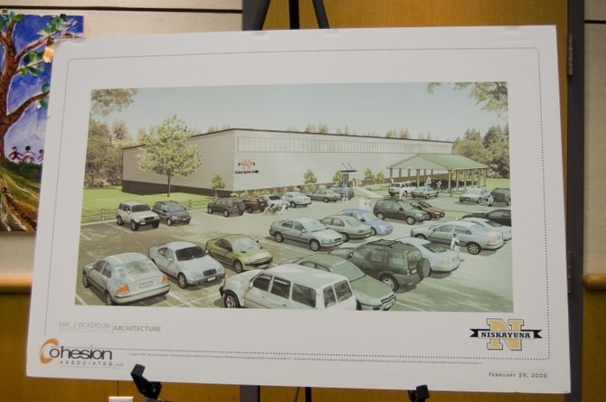 A rendering of the proposed indoor recreation center was shown at the Niskayuna Town Board Meeting on Thursday, April 19.