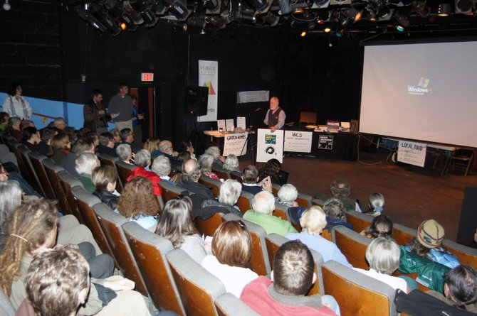 Jerry Jenkins addresses a full house at the Pendragon Theatre April 22.