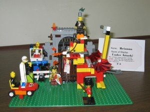 A Lego depiction of a dragon by a young member of the Guilderland Public Library Lego Club. 